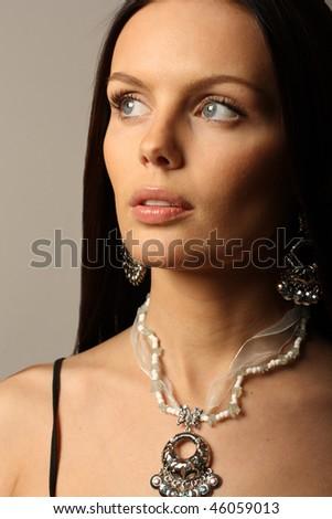 Elegant brunette woman. - stock photo