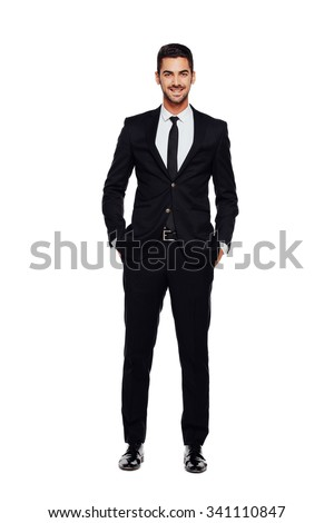 elegant businessman looking at camera with reliability isolated on white background - stock photo