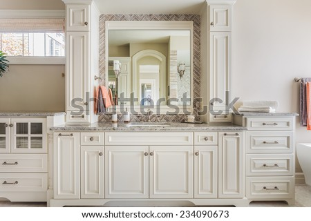 Elegant Cabinetry and fine craftsmanship lend an upscale touch to a full master bathroom - stock photo