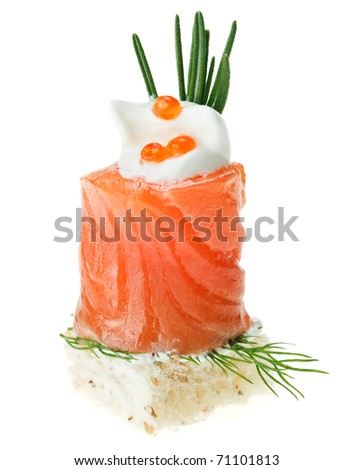 Elegant canape with salmon roll, toast, rosemary twig and caviar isolated on white - stock photo