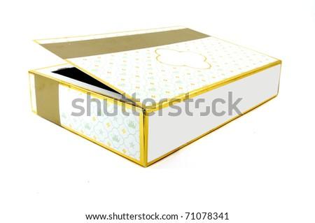elegant chocolate box isolated over white background - stock photo