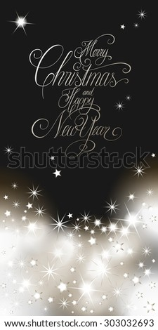 Elegant Christmas and New Years card with hand lettering, Merry Christmas and Happy New Year - stock photo