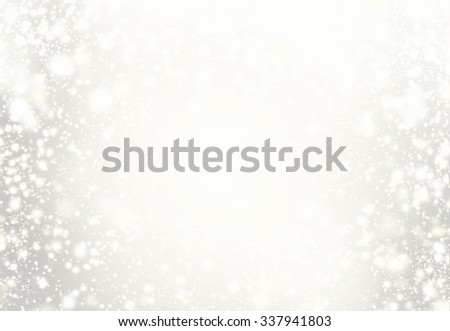 Elegant Christmas Background. Golden Holiday Abstract Glitter Defocused Background With Blinking Stars and snowflakes. Blurred Soft colored  Bokeh - stock photo