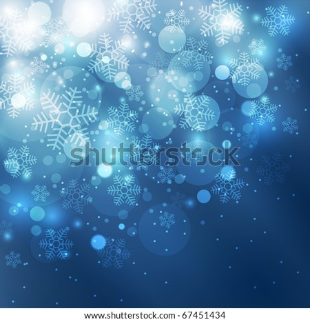 Elegant christmas blue background with snowflakes and space for text - stock photo