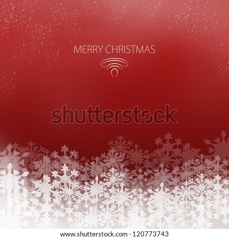 Elegant Christmas Card with snowflakes on a red background - stock photo