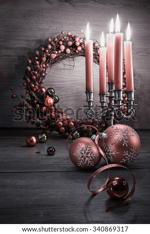 Elegant Christmas decorations on wood, space for your greeting. Merry Christmas! - stock photo