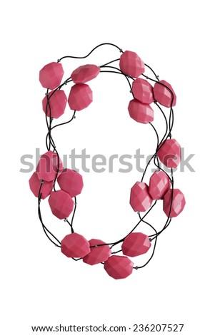 Elegant coral bead isolated over white - stock photo