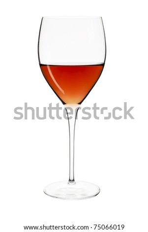 Elegant crystal wine glass with rose isolated on white background with clipping path. - stock photo