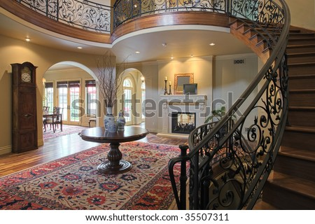 Elegant Curved Staircase - stock photo
