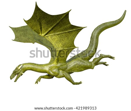 Elegant 3d CG rendering flying dragon isolated on white background - stock photo