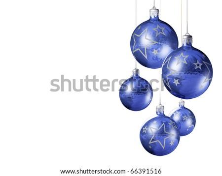 Elegant decorative isolated christmas baubles on white background. - stock photo