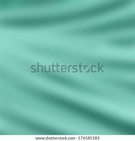 elegant draped cloth background illustration, beautiful silk fabric folds with creases and wrinkles, wavy graphic art image, smooth wave design background, light blue green color cloth texture  - stock photo