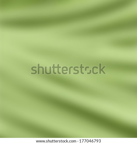 elegant draped cloth background illustration, beautiful silk fabric folds with creases and wrinkles, wavy graphic art image, smooth wave design background, light spring green color cloth texture  - stock photo