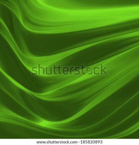 elegant draped green cloth background illustration, beautiful silk fabric folds creases and wrinkles, wavy graphic art image, wave design background, shiny metallic green color with smooth texture  - stock photo