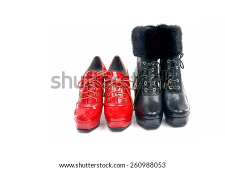 Elegant expensive black and red heel women shoes  - stock photo