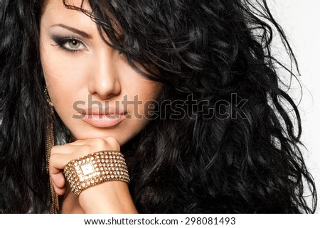 elegant fashionable woman with watch - stock photo