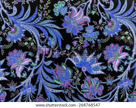 elegant floral blue pattern on black  - stock photo