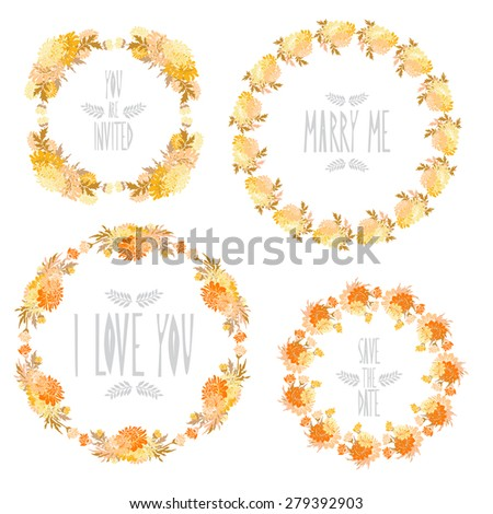 Elegant floral frames with chrysanthemum flowers, design elements. Can be used for wedding, baby shower, mothers day, valentines day, birthday cards, invitations. Vintage decorative flowers. - stock photo