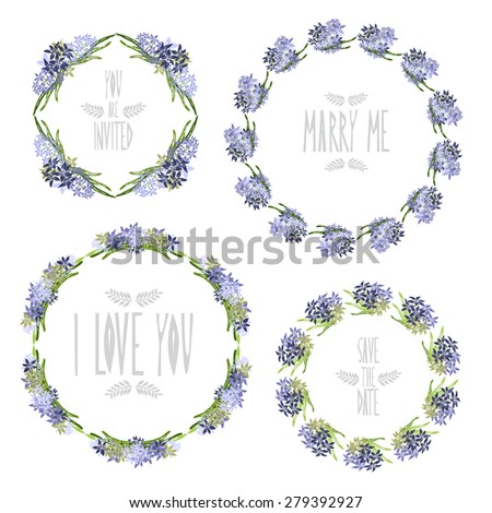 Elegant floral frames with hyacinth flowers, design elements. Can be used for wedding, baby shower, mothers day, valentines day, birthday cards, invitations. Vintage decorative flowers. - stock photo