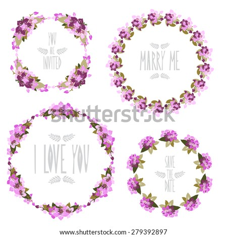 Elegant floral frames with orchid flowers, design elements. Can be used for wedding, baby shower, mothers day, valentines day, birthday cards, invitations. Vintage decorative flowers. - stock photo