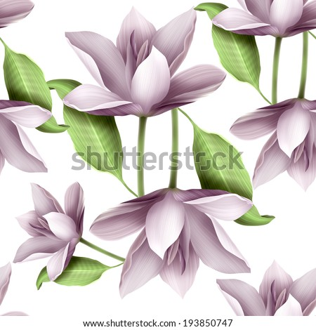 Elegant floral seamless pattern with water lily, leaves and petals - stock photo