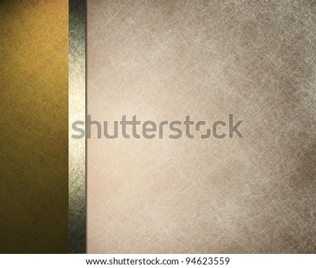 elegant formal background with light brown beige parchment paper illustration with striped side border of gold color and gold ribbon with vintage grunge texture and copy space for brochure or menu - stock photo