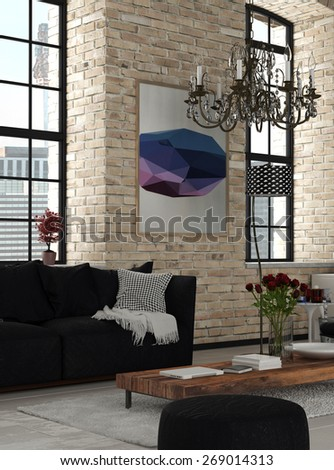 Elegant Furniture at Modern Architectural Lounge Room with Chandelier Hanging on Top and Artwork on the Wall. 3d Rendering. - stock photo