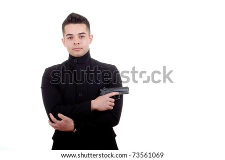elegant gangster isolated on white background - stock photo