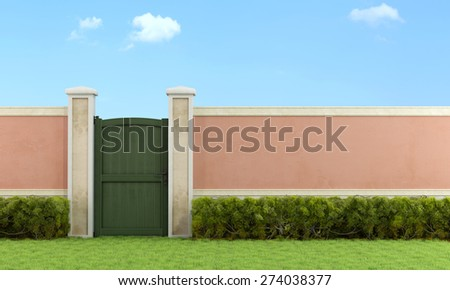 Elegant garden with pedestrian gate closed  - 3D rendering - stock photo
