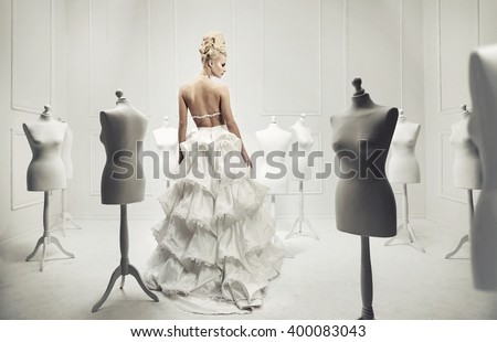 Elegant glamorous blonde beauty - stock photo