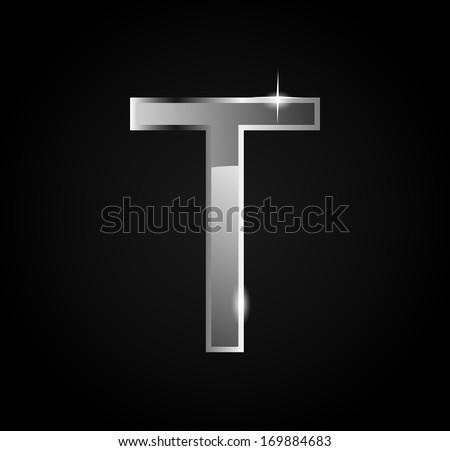 Elegant glass shining letter T - stock photo