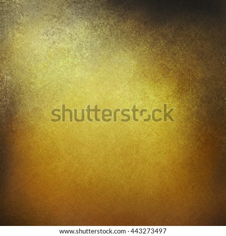 elegant gold background with corner spotlight and dark vignette shadows, fancy vintage gold background with fine detailed texture with grunge black stains around border - stock photo