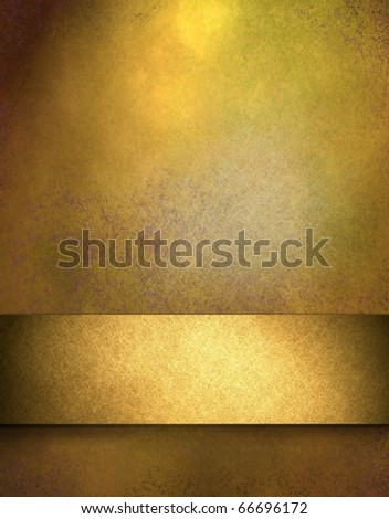 elegant gold distressed background with texture and highlight, rich shiny ribbon stripe in graphic art design layout for copy space to add your own text or title - stock photo