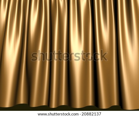Elegant gold stage curtain - stock photo