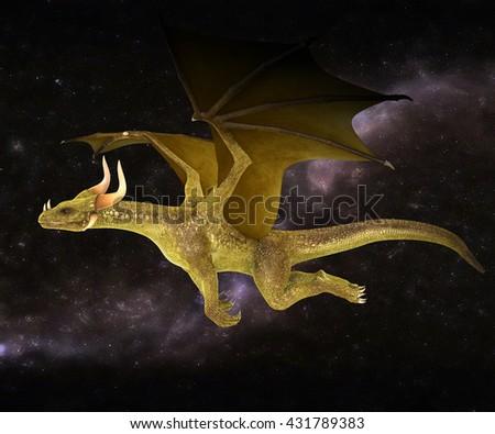 Elegant golden dragon flying on a starry sky background 3d illustration - stock photo