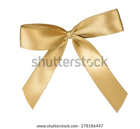 Elegant golden ribbon bow isolated on white background - stock photo