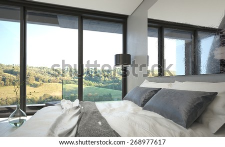 Elegant Gray and White Bed in Queen Size Inside an Architectural Room with Glass Windows Where Outdoor View Can be Seen. 3d Rendering.  - stock photo