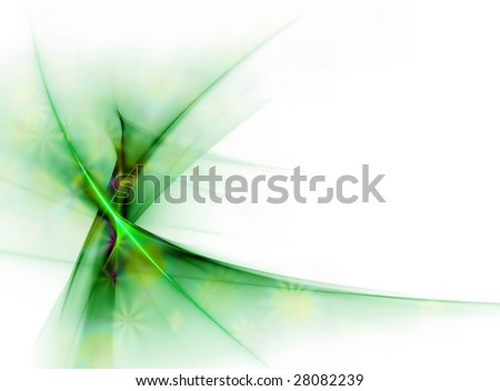 Elegant green floral veil in the wind, with copy space on a white background - stock photo