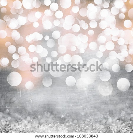 Elegant Grunge Silver, Gold, Pink Christmas Light Bokeh & Vintage Crystal Background Texture - stock photo