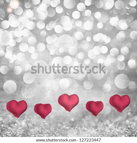 Elegant Grunge Silver, Grey Light Bokeh & Crystal Vintage Texture Background With Pink & Red Valentines Day Hearts - stock photo