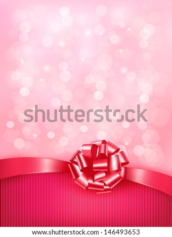 Elegant holiday background with gift pink bow and ribbon. Raster version - stock photo