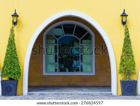 elegant house door and  big tree pot. - stock photo