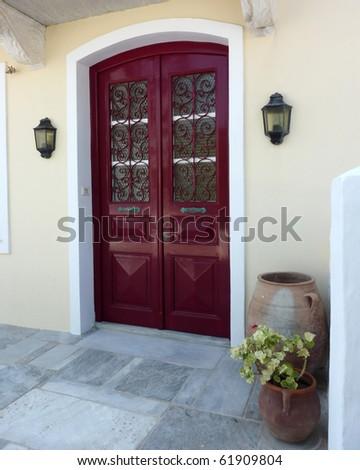 elegant house door in Greece - stock photo
