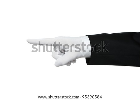 Elegant human hand pointing Your text or product - stock photo