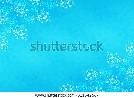 Elegant light blue and white blurred snowflakes background with star dust, tiny little shining stars and space for text. Happy New Year or Marry Christmas winter greeting card stardust concept. - stock photo