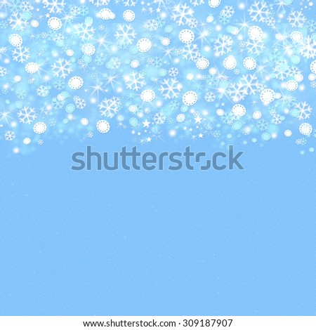 Elegant light blue and white blurred snowflakes background with tiny little shining stars and space for text. Happy New Year or Marry Christmas winter greeting card concept. - stock photo
