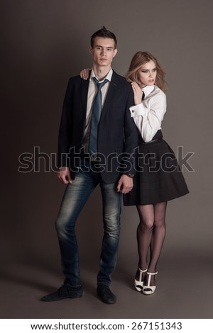 Elegant lovely young sensual couple. - stock photo