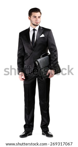 Elegant man in suit with briefcase isolated on white - stock photo