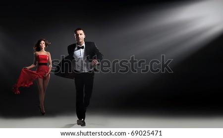 Elegant man running - stock photo