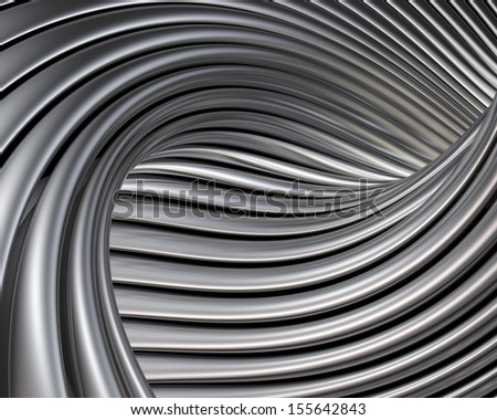 Elegant metallic curves background. Luxury brushed metal shapes reflections - stock photo